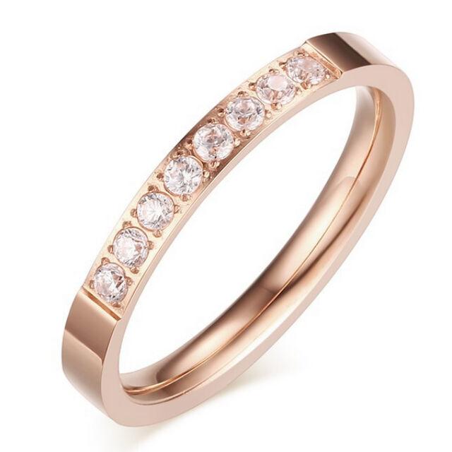 Csillogó egysoros nemesacél gyűrű rosegold