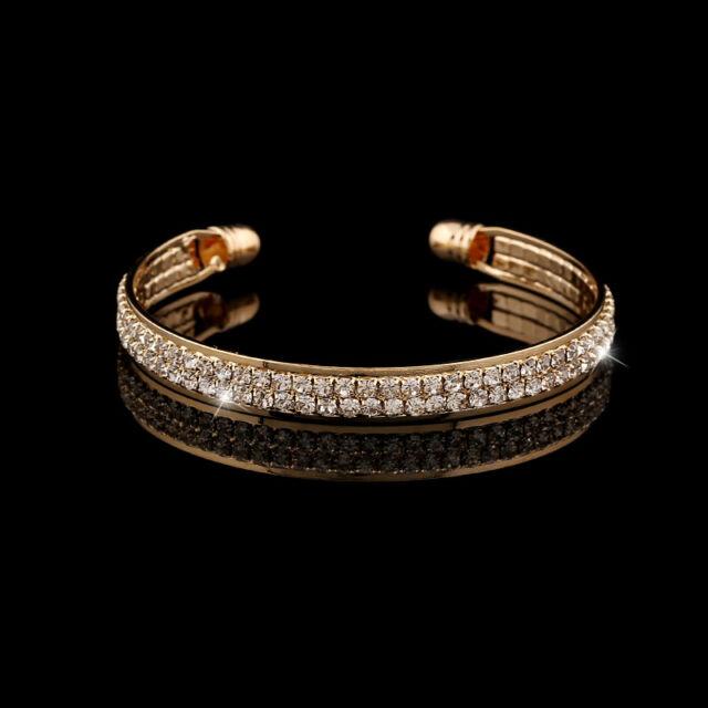 Két kristálysoros karperec gold