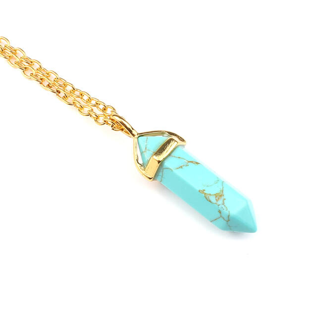 Ásvány függős nyaklánc arany türkiz
