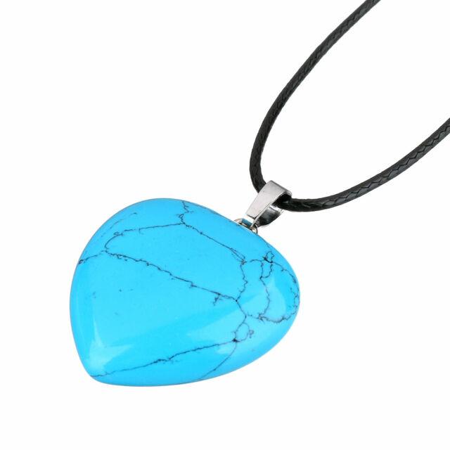 Ásvány szív medál bőr láncon kék türkiz