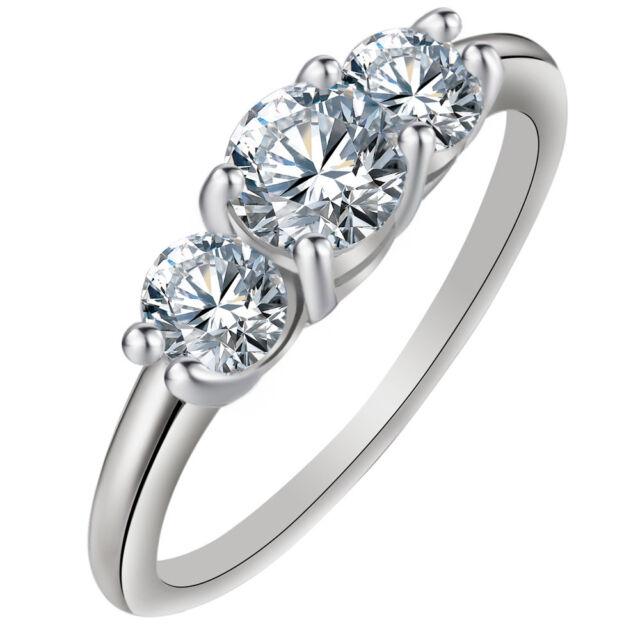 Három kerek kristályos exkluzív gyűrű