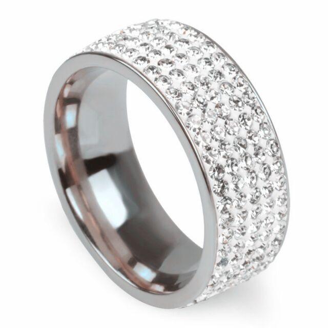 Ezerkristályos nemesacél gyűrű