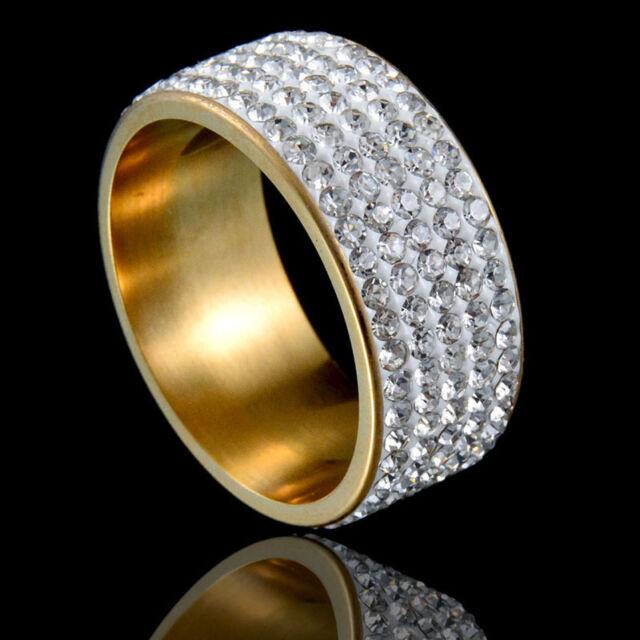 Ezerkristályos nemesacél gyűrű gold