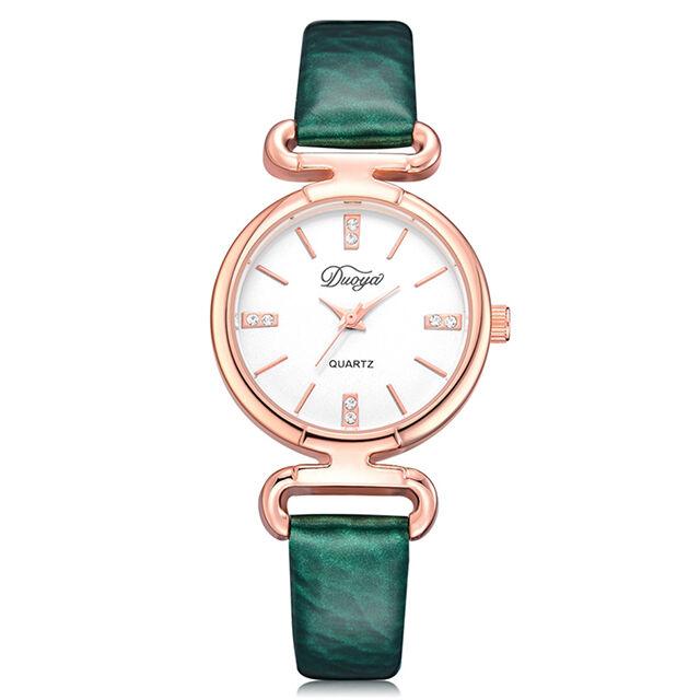 Elegáns márványszíjas óra smaragdzöld