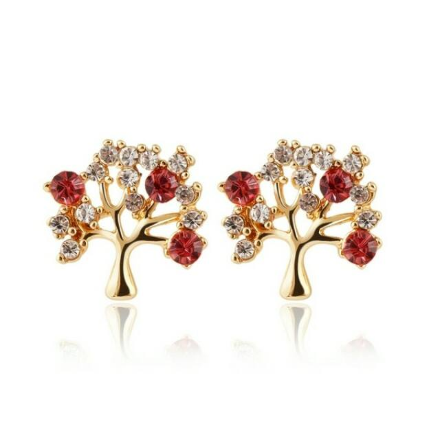 Az Élet fája fülbevaló piros-arany