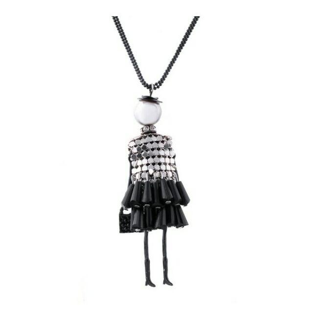 Shopping lady fekete-ezüst hosszú nyaklánc