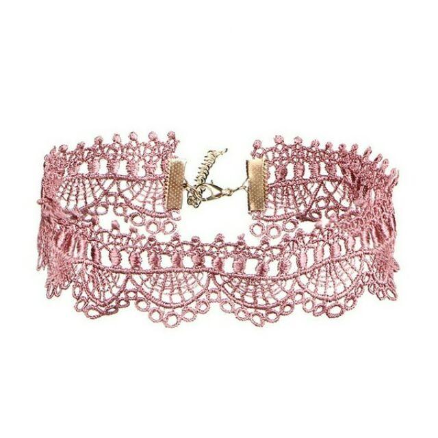 Csipke choker nyaklánc pink