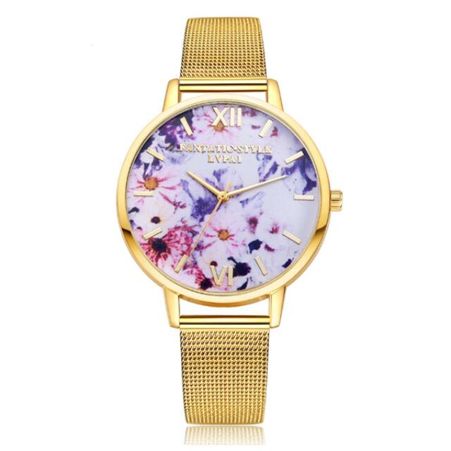 Virágszirmos óra gold