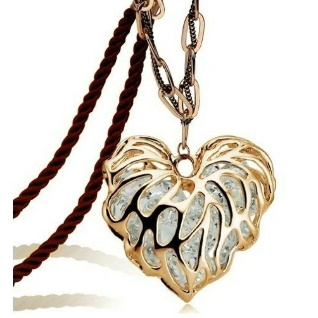 Díszes nagy szív nyaklánc