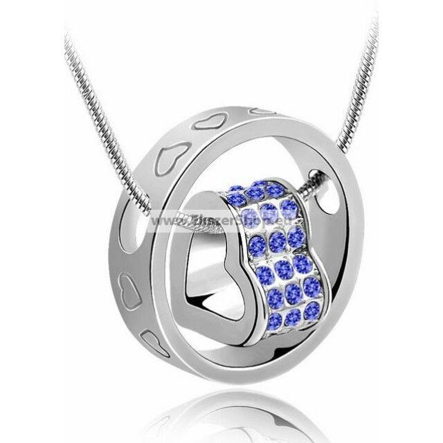 Gyűrű+szív nyaklánc kék