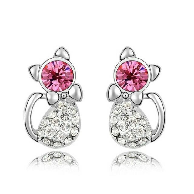 Pink Swarovski cica fülbevaló