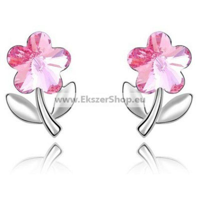 Kis virág fülbevaló pink