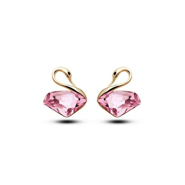 Hattyúpár fülbevaló gold-pink