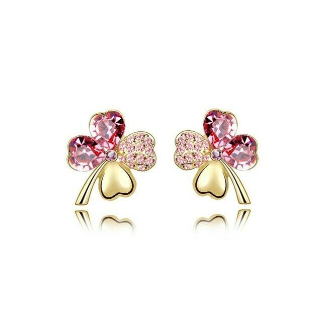 Szerencse fülbevaló arany-rózsaszín