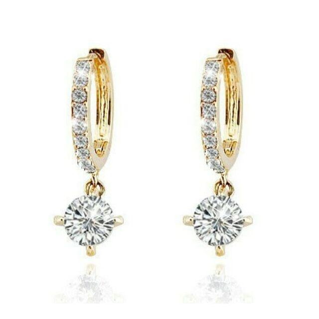 Karika és lógó kristály fülbevaló arany-fehér