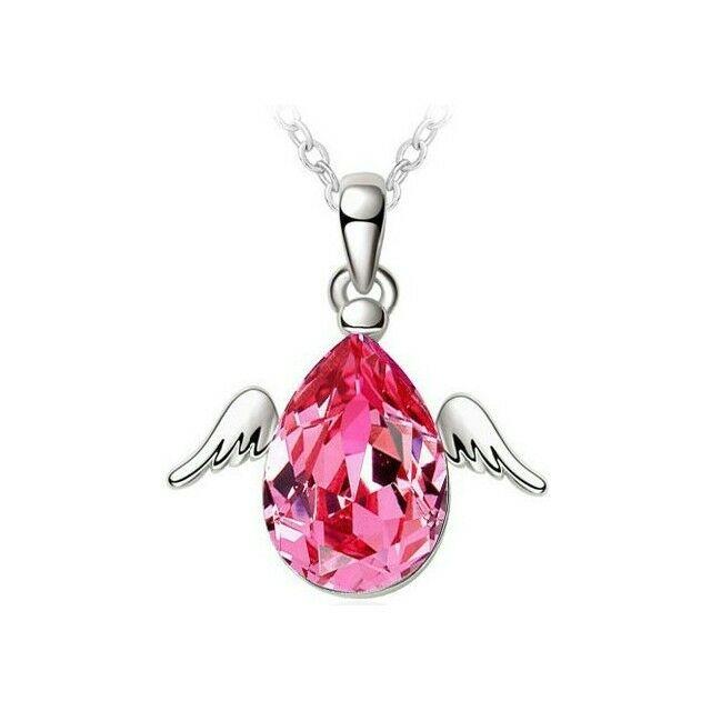 Csepp angyalszárnyakkal nyaklánc pink