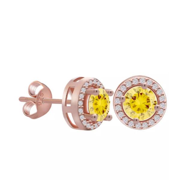 Körben pötty beszúrós fülbevaló rosegold-sárga