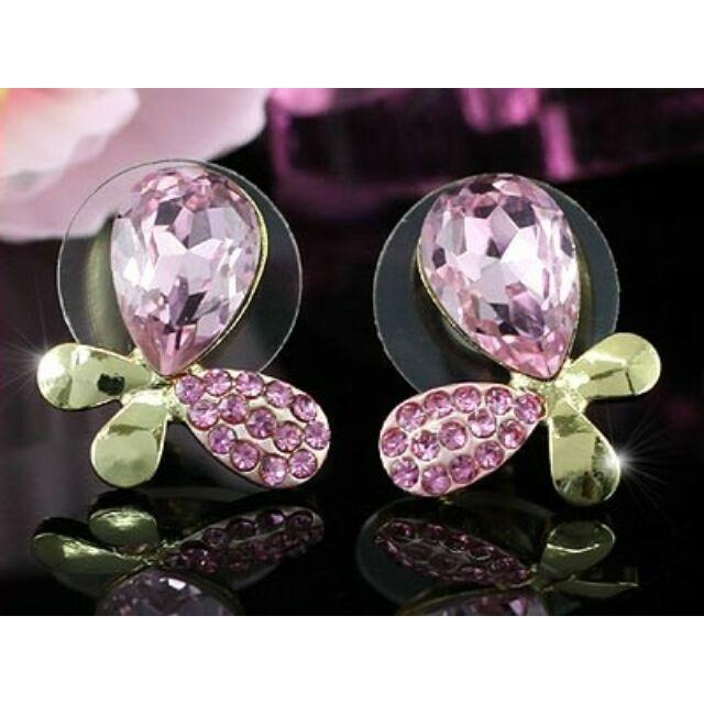 367 Pink pillangó beszúrós fülbevaló