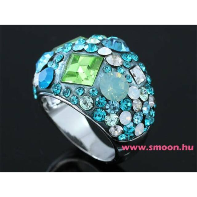Kékeszöld Swarovski kristályos gyűrű 0160