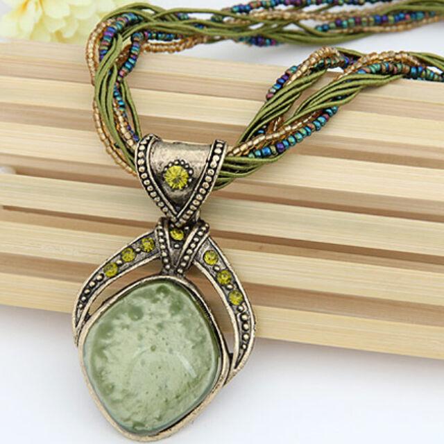 Antik medálos nyaklánc zöld