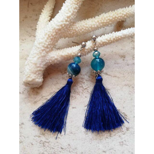 Dupla kristályos kék achát fülbevaló