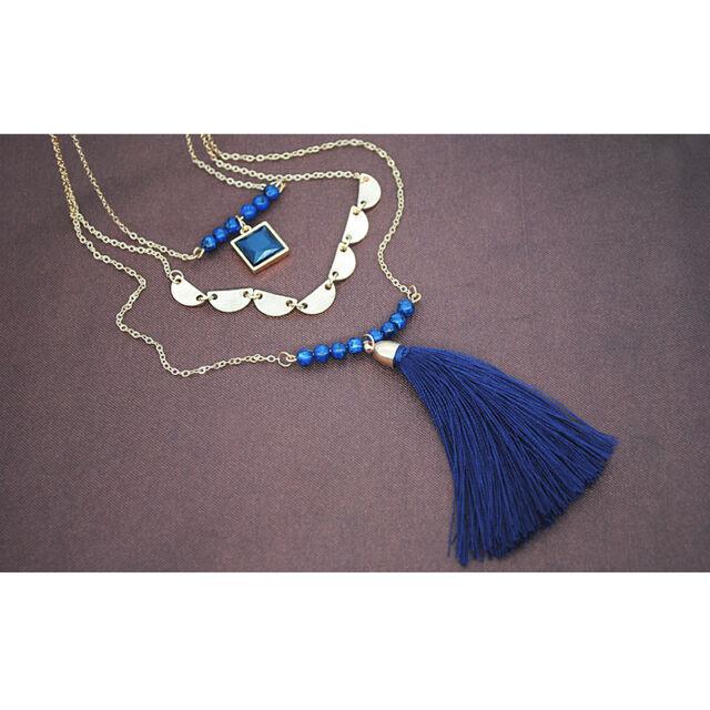 Bojtos háromrészes nyaklánc kék
