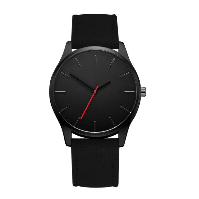 Exclusive design férfi bőrszíjas óra fekete