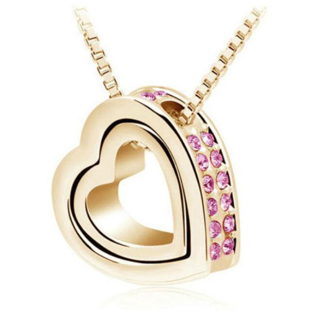 Kis szív - nagy szív nyaklánc gold-pink