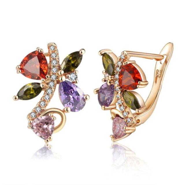Színes Swarovski kristályos pillangó fülbevaló