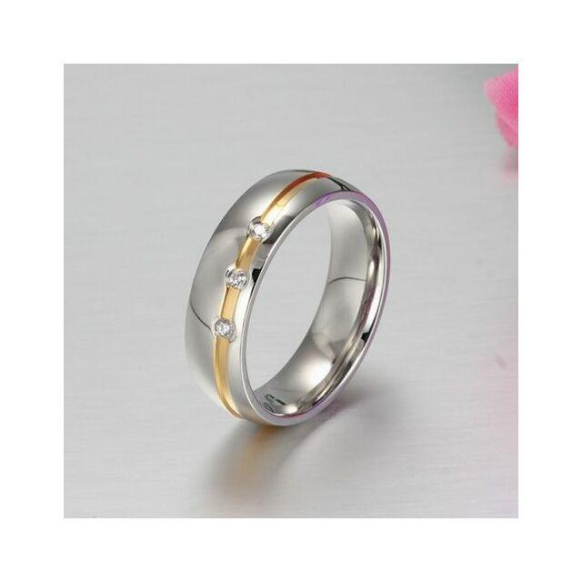 Aranycsíkos háromkristályos nemesacél gyűrű 51,8 mm